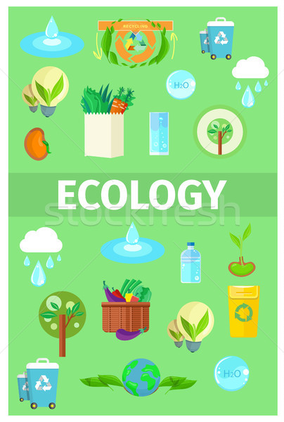 Ecology Poster with Cartoon Recycling Icons Set Stock photo © robuart