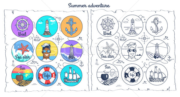 Summer Adventure Monochrome and Colorful Posters Stock photo © robuart