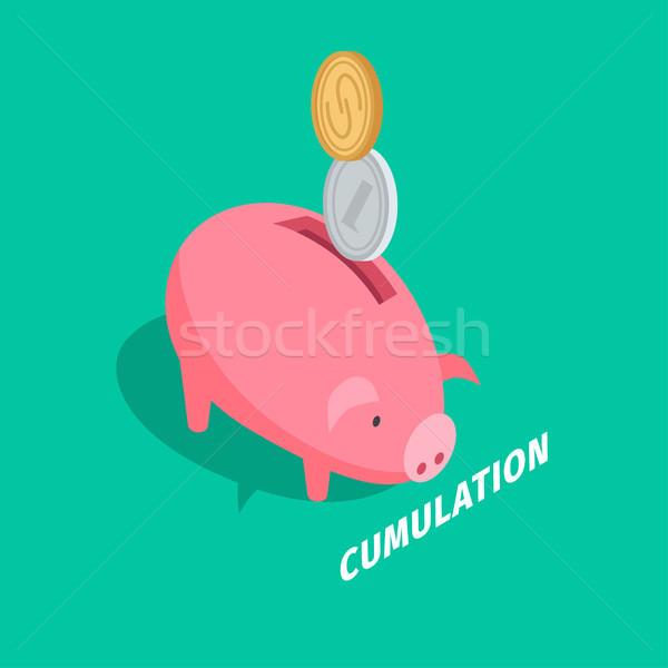 Money Accumulation Isometric Vector with Piggybank Stock photo © robuart