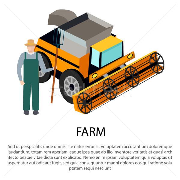 Farmer with a Pitchfork near Harvesting Car Stock photo © robuart