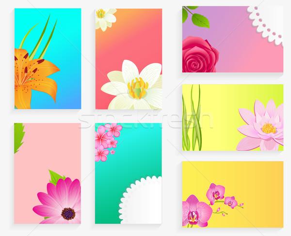 Foto d'archivio: Vettore · poster · colorato · fiori · set · saluto