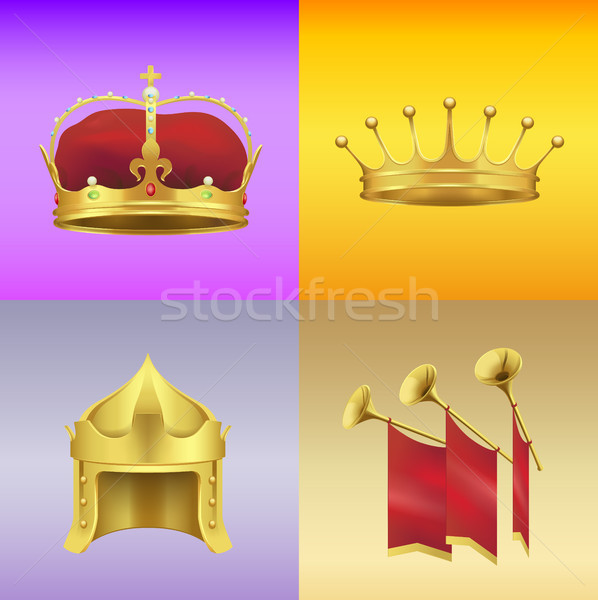 Gold Kings Crowns and Chimneys Illustrations Set Stock photo © robuart