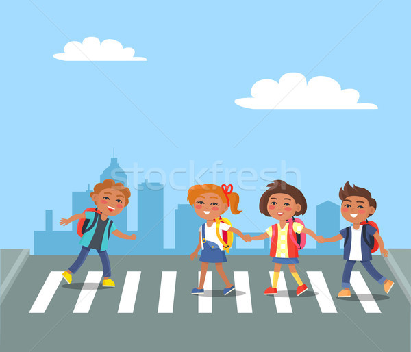Kids Crossing Road in City Cartoon Illustration Stock photo © robuart