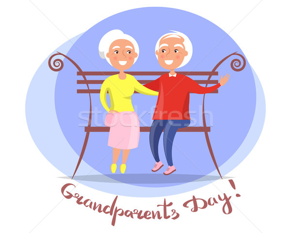 祖父母 日 ベンチ ベクトル ポスター ストックフォト © robuart