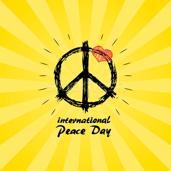 国際 平和 日 ロゴ ヒッピー にログイン ストックフォト © robuart
