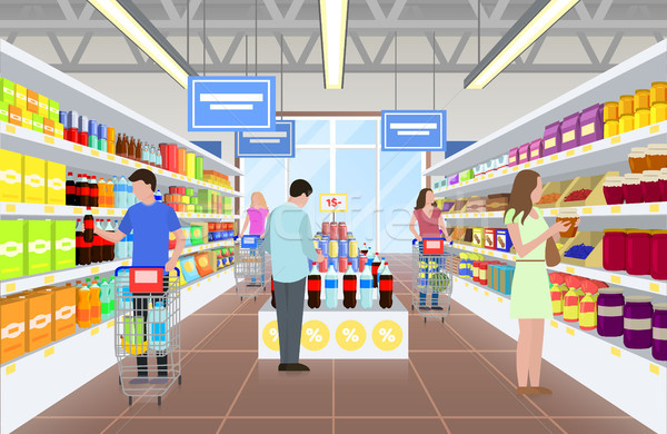 People at the Supermarket on Vector Illustration Stock photo © robuart