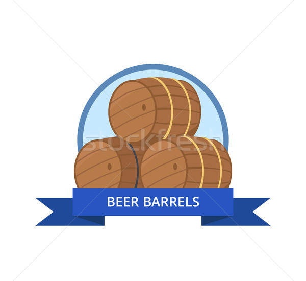 Beer Wooden Barrels Vector Illustration Isolated Stock photo © robuart