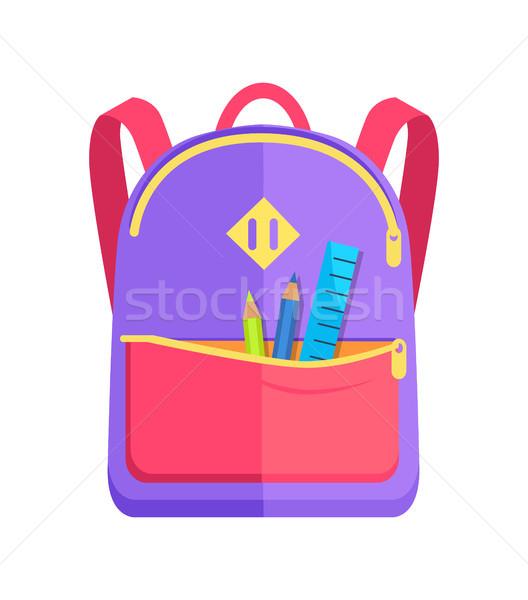 Mochila criança escolas artigos de papelaria lápis Foto stock © robuart