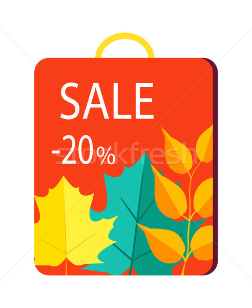 Sale 20 Promo Poster on Shopping Bag with Handle Stock photo © robuart
