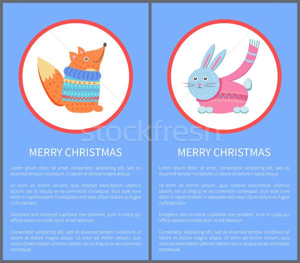 Vidám karácsony állat róka pulóver nyúl Stock fotó © robuart
