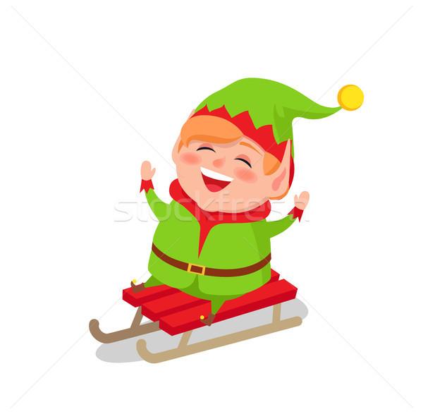 счастливым эльф верховая езда сани вектора изолированный Сток-фото © robuart