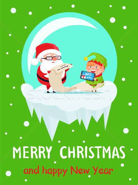 Stockfoto: Gelukkig · nieuwjaar · vrolijk · kerstmis · briefkaart · elf