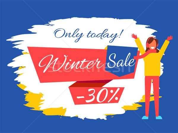 Hoje inverno venda 30 cartaz para cima Foto stock © robuart