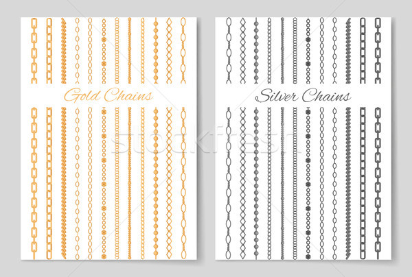 Silver and Gold Chains Promotional Posters Set Stock photo © robuart