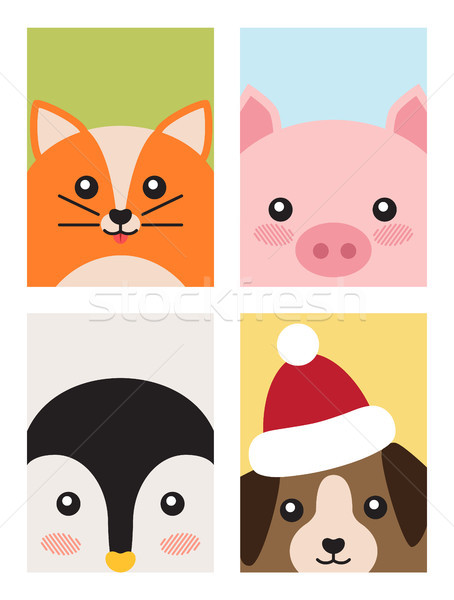 Cat and Pig Penguin and Dog Vector Illustration Stock photo © robuart