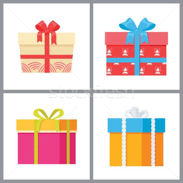 Conjunto caixas de presente decorativo papel de embrulho arcos Foto stock © robuart