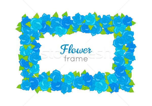 Bloem frame rechthoekig krans bloesems verschillend Stockfoto © robuart