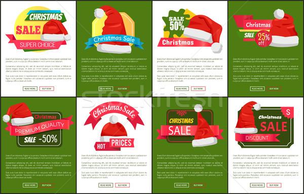 ストックフォト: セット · 赤 · クリスマス · 販売 · プロモーション