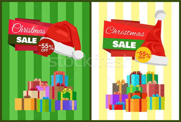 Christmas Sale Poster Wrapped Present, Promo Label Stock photo © robuart