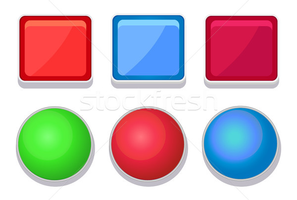 Empty Glossy Web Buttons Square and Round Shape Stock photo © robuart