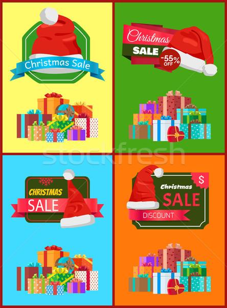 Karácsony vásár promóciós plakátok szett ajándékok Stock fotó © robuart