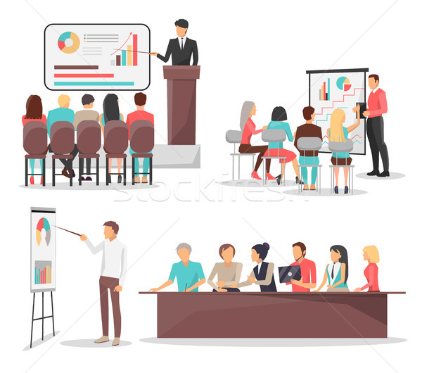 Ayarlamak iş toplantısı lider grafik Stok fotoğraf © robuart