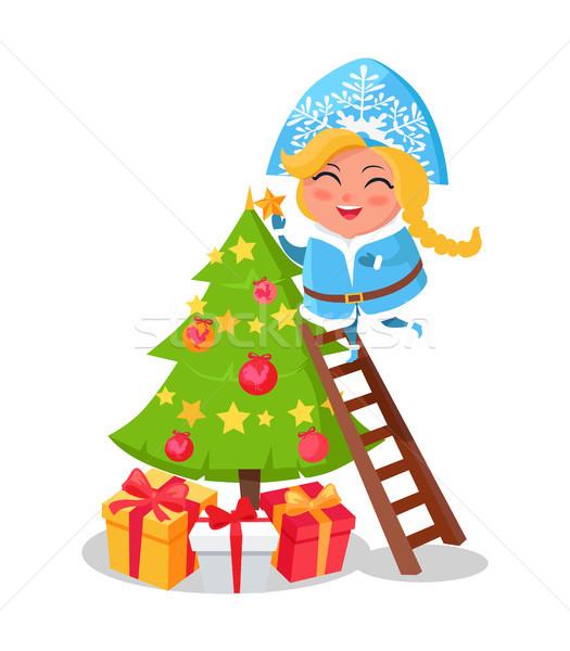 Boldog hó hajadon karácsonyfa ikon izolált Stock fotó © robuart