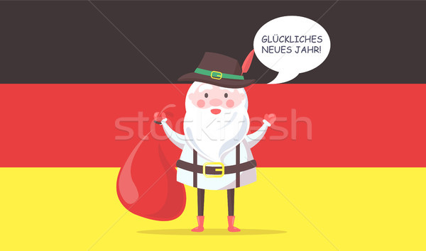 German Santa Claus in Traditional Clothes with Bag Stock photo © robuart