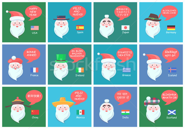 Stock photo: Santa Clauses from Different Countries Banners