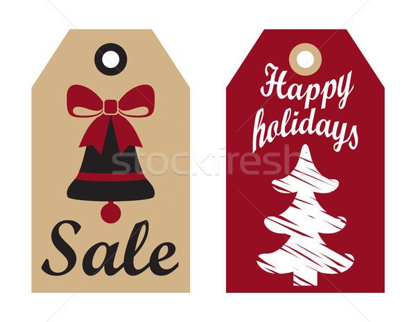 Satış mutlu tatil Filmi hazır etiketler Stok fotoğraf © robuart