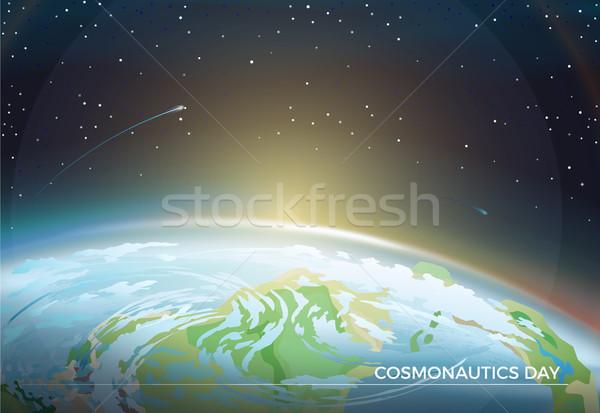 Gün poster toprak parlak güneş ufuk Stok fotoğraf © robuart