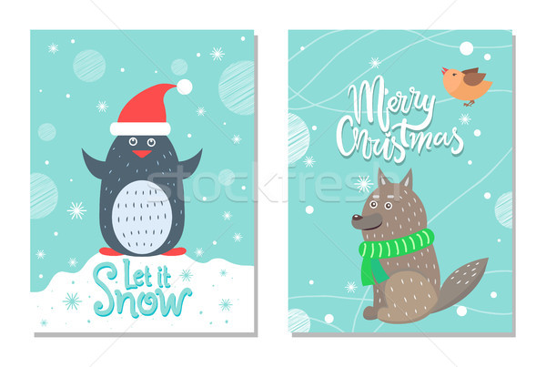 Merry Christmas let it Snow 60s Theme Postcard Stock photo © robuart