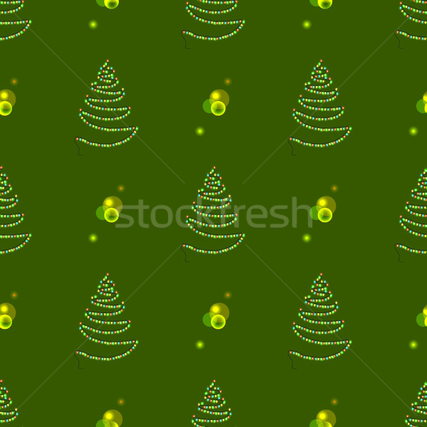 Christmas Seamless Tree Made of Garland with Lamps Stock photo © robuart