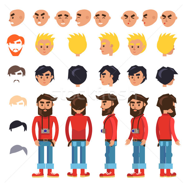 Cartoon Hipster Man Character Vector Constructor Stock photo © robuart