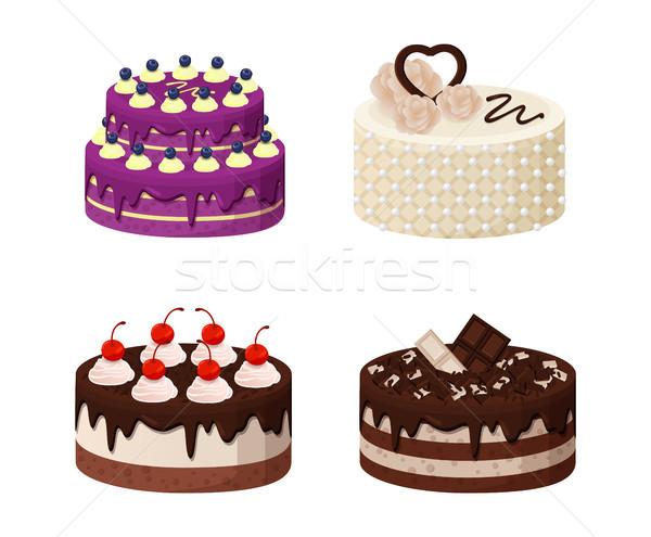 Dulce panadería colección anunciante tortas crema Foto stock © robuart