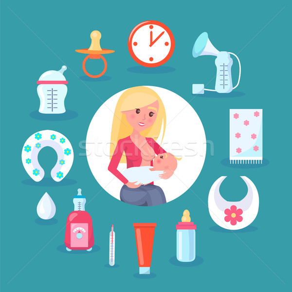 Breastfeeding Mom and Child Vector Illustration Stock photo © robuart