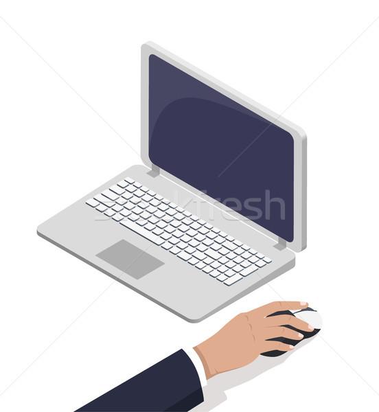 男性 手 オープン ノートパソコン 触れる コンピューターのマウス ストックフォト © robuart
