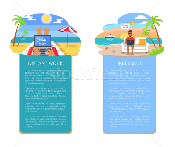 Freelance at Seaside Distant Vector Illustration Stock photo © robuart