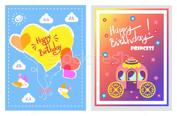 Joyeux anniversaire peu princesse cartes postales nuages Photo stock © robuart