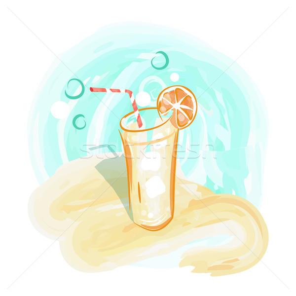 Frissítő ital homokos tengerpart vektor fehér üveg Stock fotó © robuart