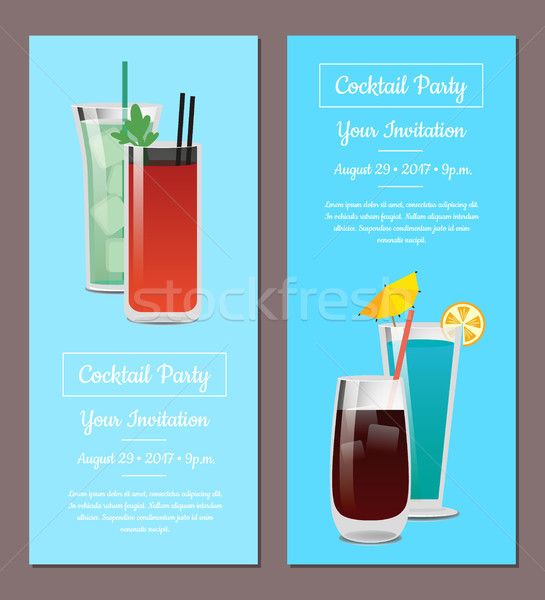 Cocktail party uitnodiging posters ingesteld mojito bloedig Stockfoto © robuart
