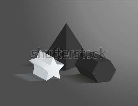 üç ayarlamak geometrik siyah beyaz kare piramit Stok fotoğraf © robuart