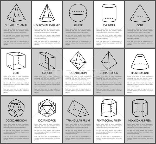 Figures Set, Sphere and Cone, Cube and Cuboid Stock photo © robuart