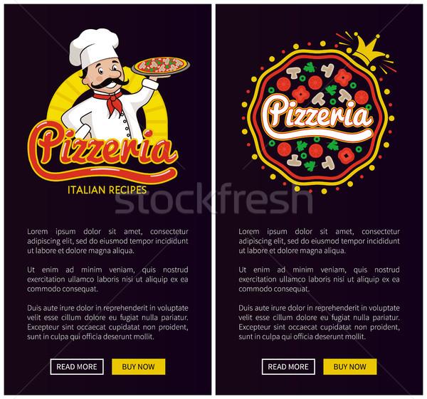 Pizzacı İtalyan ayarlamak yemek tarifleri Stok fotoğraf © robuart