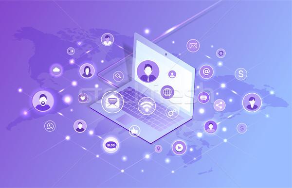Laptop violett Plakat Blog Symbole Stock foto © robuart