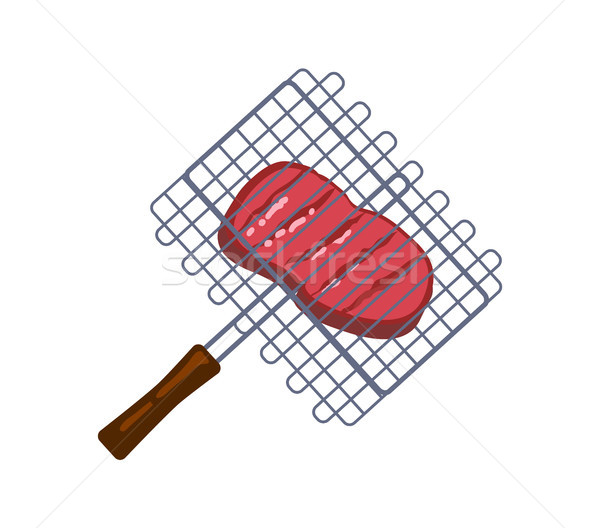 Succulent Meat Piece in Barbecue Grid, Color Card Stock photo © robuart