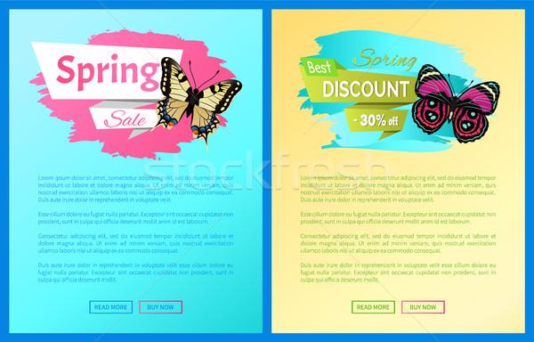 Stock fotó: Legjobb · tavasz · árengedmény · címkék · plakátok · pillangók