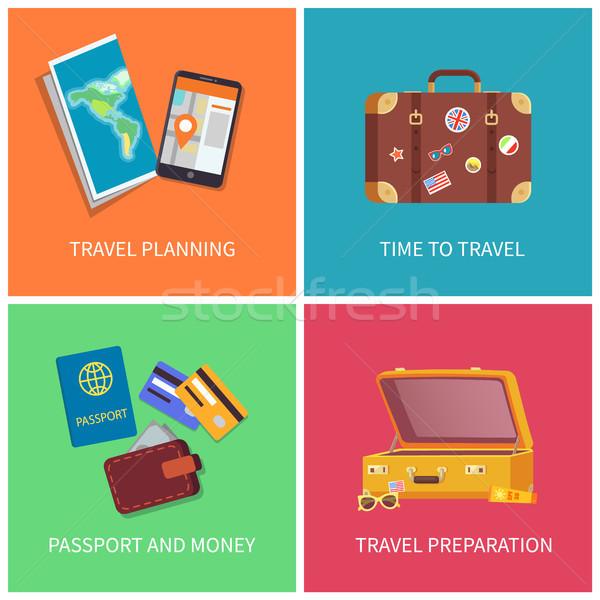 Travel Planning Posters Set Vector Illustration Stock photo © robuart