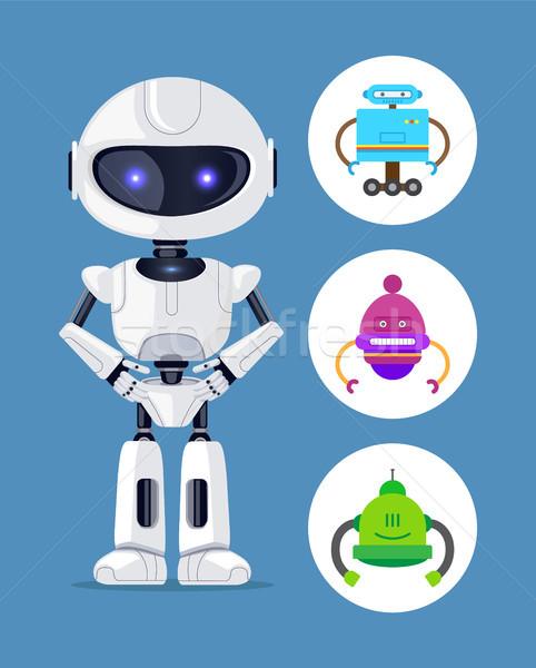 Robot Standing Calmly Set Vector Illustration Stock photo © robuart