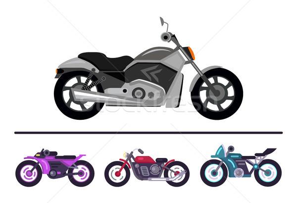 Modern Bike Design Grey Scooter Set Motorbikes Stock photo © robuart